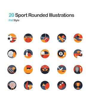 Deporte redondeado ilustración plana