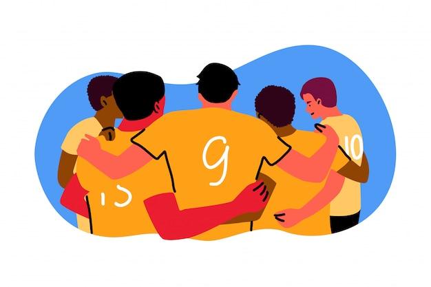 Deporte, trabajo en equipo, celebración, concepto ganador.