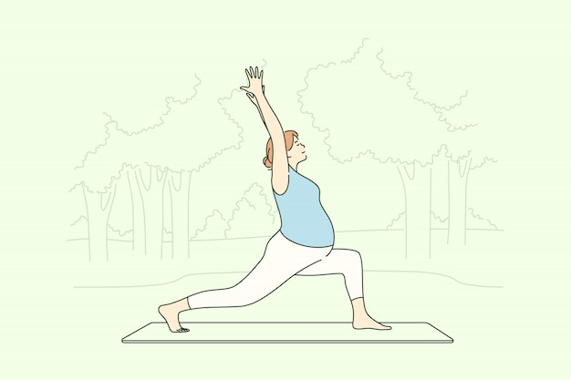 Deporte, yoga, embarazo, salud, concepto de entrenamiento.