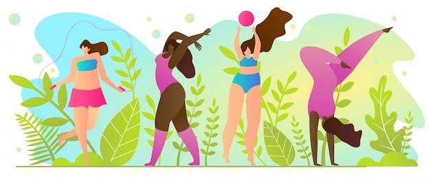 Deportes activos en verano, ilustración.
