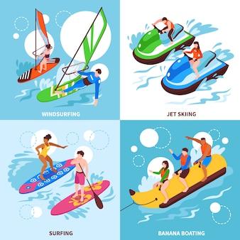 Deportes acuáticos 2x2 conjunto de windsurf, jet ski, banana, canotaje y surf, iconos cuadrados isométricos