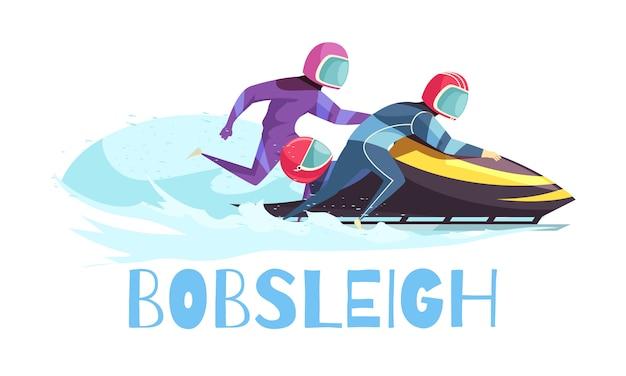Deportes de bobsleigh con símbolos de entrenamiento y campeonato planos