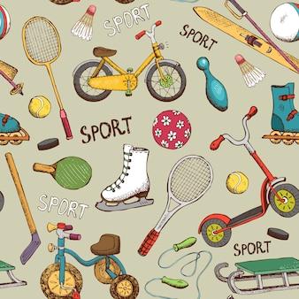 Deportes dibujados a mano vintage y juegos de acción de patrones sin fisuras