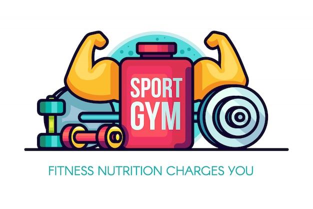 Deportes gym nutrición ilustración