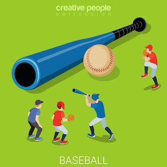 Deportes isométricos planos de béisbol
