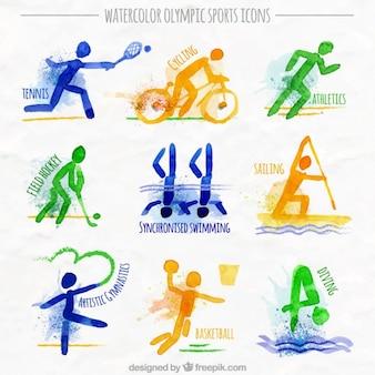 Deportes olímpicos de acuarela
