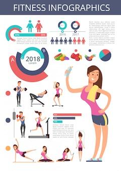 Deportes y vida saludable vector negocios infografía con personajes de persona de deporte, tablas y diagramas