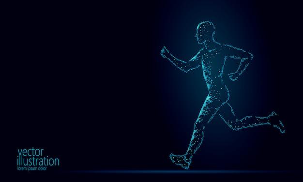 Deportista ejecutar ejercicio fitness concepto de estilo de vida saludable. silueta de hombre de baja poli para correr en forma de maratón. entrenamiento muscular en forma de cuerpo