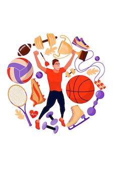 Deportista y equipamiento deportivo.