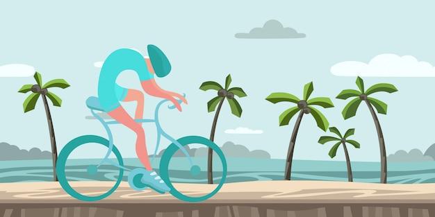 Deportista montando bicicleta por la playa tropical. mar, playa, cielo azul, carrera de bicicletas. ilustración colorida, horizontal.