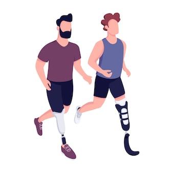 Los deportistas discapacitados compiten con personajes sin rostro de color plano