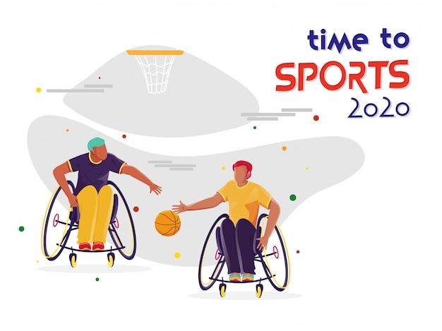 Deportistas discapacitados jugando baloncesto y aro sobre fondo blanco para time to sports 2020.