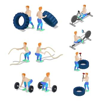 Deportistas isométricos en ejercicios y entrenamiento de gimnasio crossfit. vector ilustración plana 3d