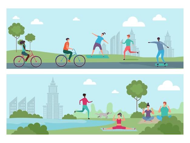 Deportistas en el parque de la ciudad. actividad al aire libre, personas internacionales que andan en bicicleta, correr, hacer yoga ilustración