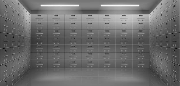 Depositar cajas de seguridad en bóveda vector realista