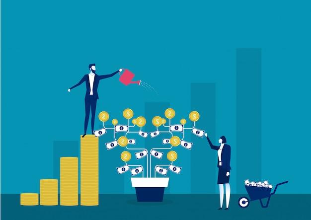 Depósito ganancias y riqueza creciente
