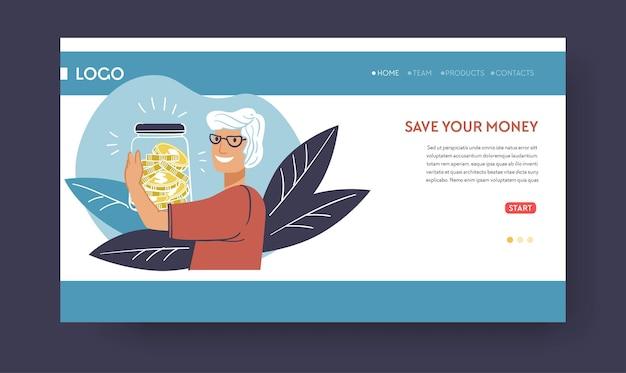 Depósitos y banca, ahorre su dinero. persona mayor con activos financieros en tarro, recibiendo salario o pensión. jubilación con suma para vivir. plantilla de aterrizaje de sitio web o página web, vector en estilo plano