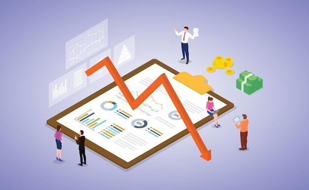 La depresión de la crisis comercial y de mercado con el equipo de personas trabaja en algún documento de informe de análisis con estilo plano moderno isométrico