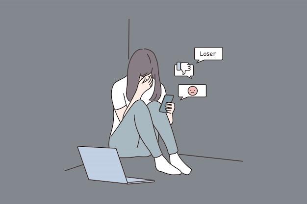 Depresión, frustración, estrés mental, ciberacoso, concepto de redes sociales