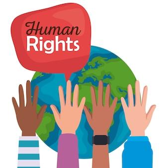 Derechos humanos con burbuja de manos arriba y diseño mundial, protesta de manifestación y tema de demostración