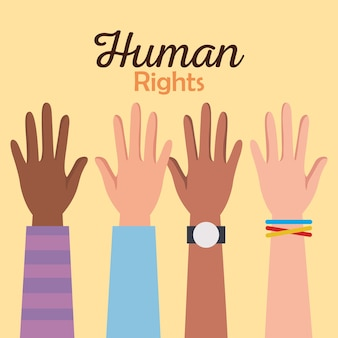 Derechos humanos con diseño de manos arriba, protesta de manifestación e ilustración de tema de demostración