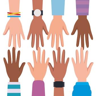 Derechos humanos con diseño de manos de diversidad, protesta de manifestación y tema de demostración