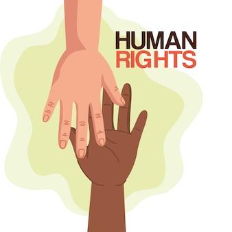 Derechos humanos con diseño de manos, protesta de manifestación e ilustración de tema de demostración