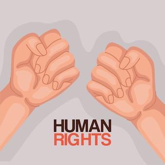 Derechos humanos con diseño de puños arriba, protesta de manifestación e ilustración de tema de demostración
