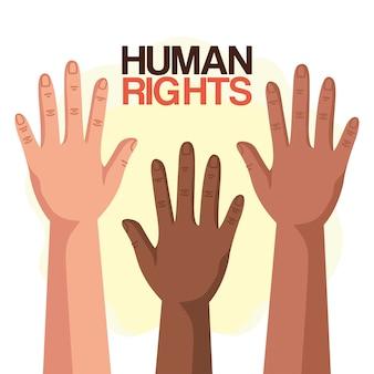 Los derechos humanos con diversidad manos arriba diseño, protesta de manifestación y tema de demostración