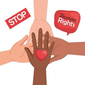Los derechos humanos con diversidad manos corazón y diseño de burbujas, manifestación de protesta y manifestación