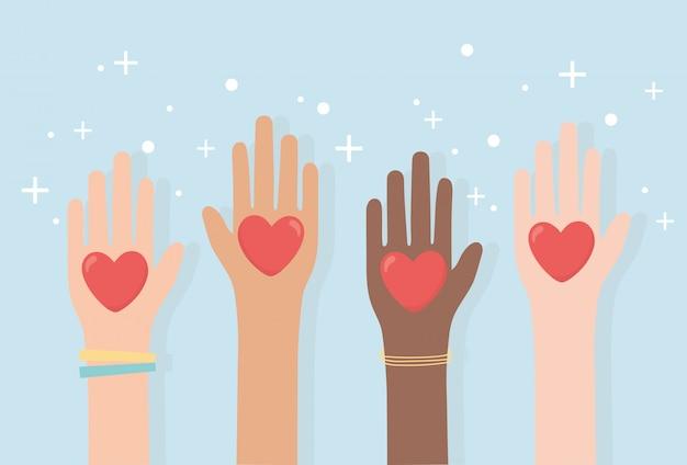 Derechos humanos, diversidad de manos levantadas con corazones amor ilustración vectorial
