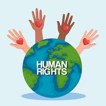 Los derechos humanos con las manos en alto los corazones y el diseño del mundo, protesta de manifestación y tema de demostración