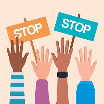 Los derechos humanos con las manos en alto y detener el diseño de pancartas, protesta de manifestación y tema de demostración