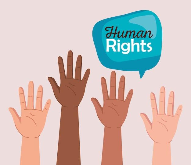 Derechos humanos con manos de diversidad y diseño de burbujas, protesta de manifestación y tema de demostración