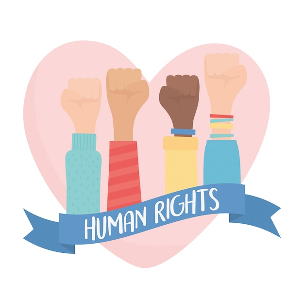 Derechos humanos, manos levantadas en puño amor corazón fuerte ilustración vectorial