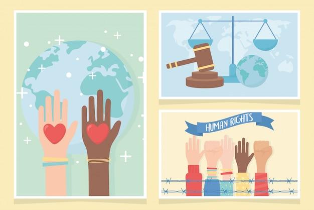 Derechos humanos, manos levantadas puño corazones amor mundo tarjetas vector illustration