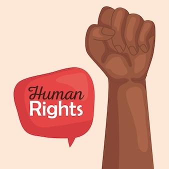 Derechos humanos con puño negro hacia arriba y diseño de burbujas, protesta de manifestación y tema de demostración