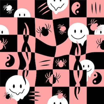 Derretir la cara de la sonrisa, la cuadrícula de verificación, la araña de patrones sin fisuras.ilustración de dibujos animados de doodle dibujado a mano de vector. fusión, tecno, ácido, trippy, células, arañas, tribal, concepto de impresión de papel tapiz de patrones sin fisuras de yin yang