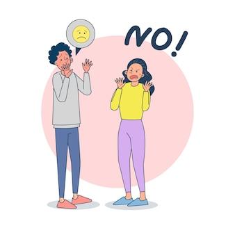Desacuerdo en la relación. mujer enojada con el joven, pareja peleando, conflicto