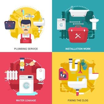 Desagües obstruidos limpieza e instalaciones concepto de servicio de fontanería.