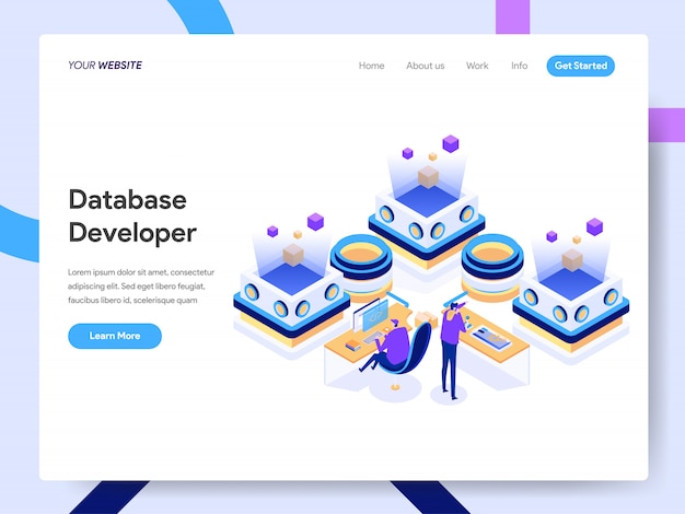 Desarrollador de bases de datos isométrico para la página web