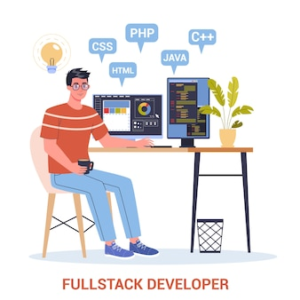 De un desarrollador de pila completa que trabaja en la computadora. programador profesional de ti, codificación, proceso de creación de sitios web. tecnologia computacional.
