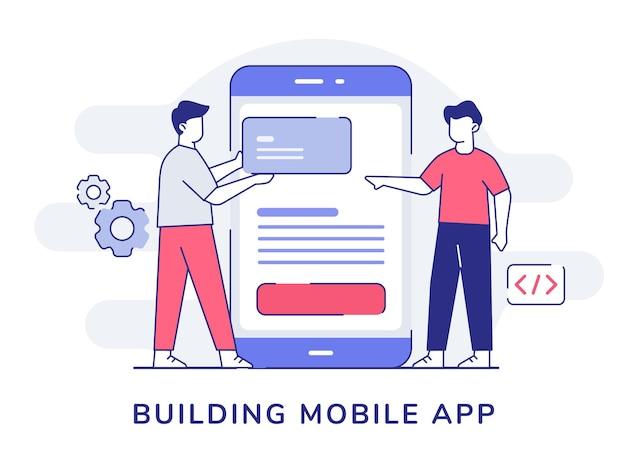 Desarrollador de programador de colaboración de personajes de aplicaciones móviles en torno a un gran smartphone con estilo de contorno