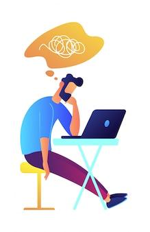 Desarrollador que trabaja con la computadora portátil y el pensamiento ilustración vectorial.