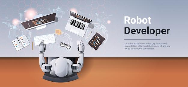 Desarrollador de robots en el diseño del sitio web del lugar de trabajo