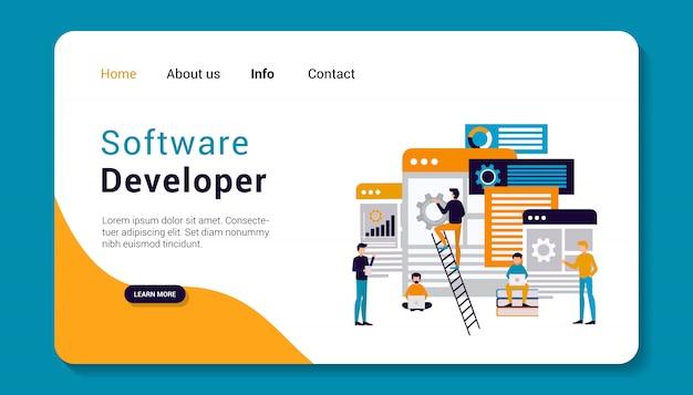 Desarrollador de software plantilla de página de destino, diseño plano