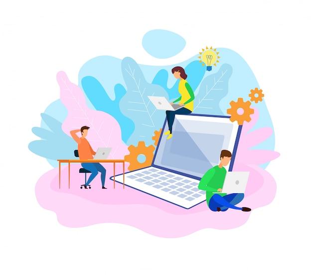 Desarrolladores coworking oficina espacio ilustración