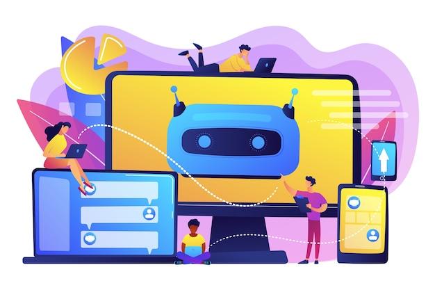 Desarrolladores que crean, prueban e implementan chatbots en plataformas. plataforma de chatbot, desarrollo de asistente virtual, concepto de chatbot multiplataforma. ilustración aislada violeta vibrante brillante