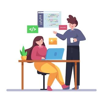 Desarrolladores web de ilustración de diseño plano