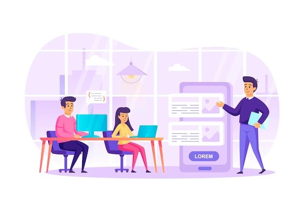 Desarrollo de aplicaciones en el concepto de diseño plano de oficina con escena de personajes de personas